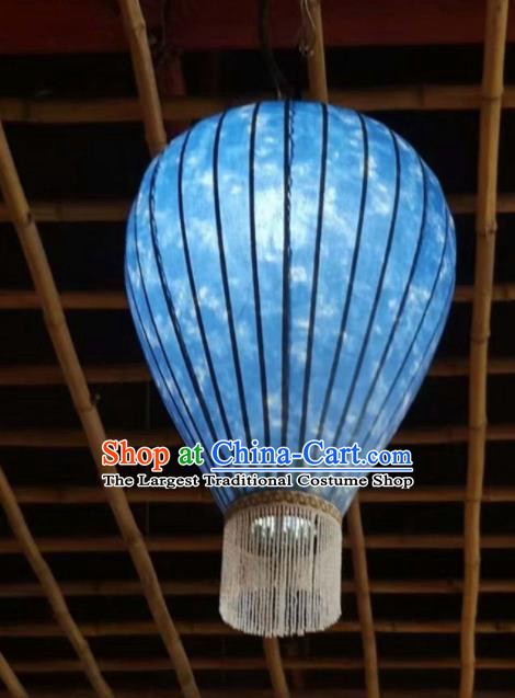 Chinese Traditional New Year Hanging Lantern Handmade Blue Vase Palace Lanterns