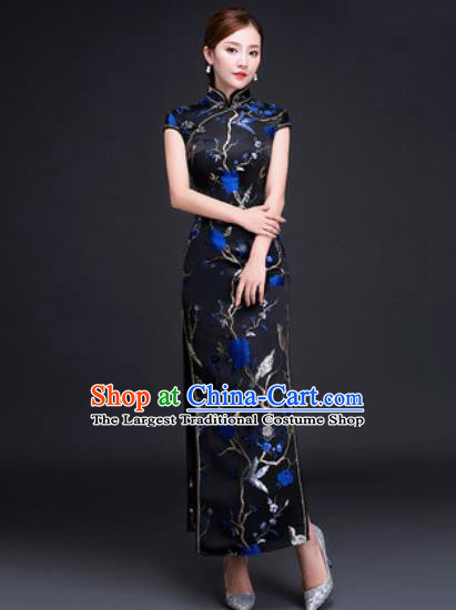Chinese Traditional National Costume Classical Wedding Cheongsam Blue Peony Qipao Dress for Women