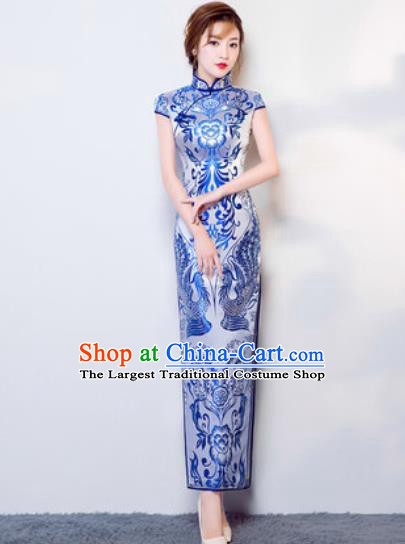 Chinese Traditional National Costume Classical Wedding Cheongsam Full Dress for Women