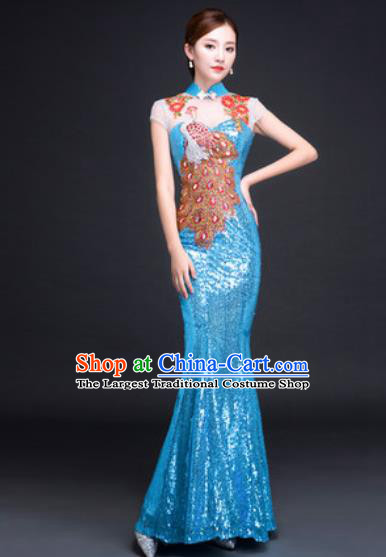 Chinese Traditional National Costume Classical Wedding Blue Fishtail Full Dress for Women
