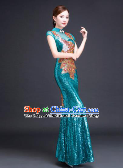 Chinese Traditional National Costume Classical Wedding Lake Blue Fishtail Full Dress for Women