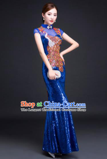 Chinese Traditional National Costume Classical Wedding Royalblue Fishtail Full Dress for Women