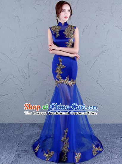 Chinese Traditional Wedding Costume Classical Embroidered Royalblue Veil Full Dress for Women