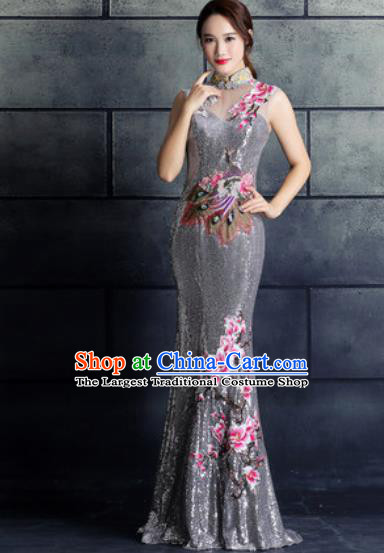 Chinese Traditional Wedding Costume Classical Embroidered Magnolia Grey Full Dress for Women