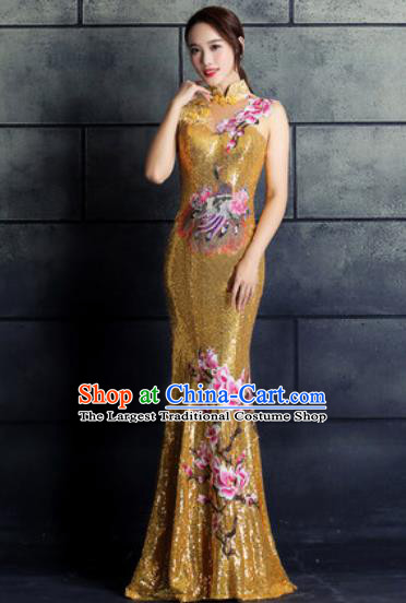 Chinese Traditional Wedding Costume Classical Embroidered Magnolia Golden Full Dress for Women