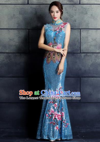 Chinese Traditional Wedding Costume Classical Embroidered Magnolia Blue Full Dress for Women