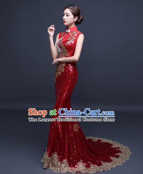 Chinese Traditional Wedding Costume Classical Red Trailing Full Dress for Women