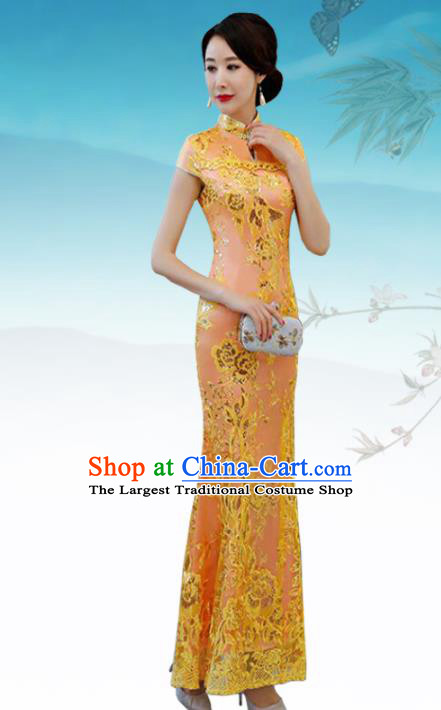 Chinese Traditional Wedding Costume Classical Embroidered Orange Full Dress for Women