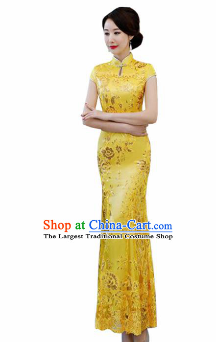 Chinese Traditional Wedding Costume Classical Embroidered Yellow Full Dress for Women
