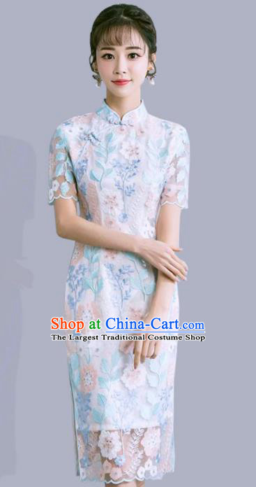 Chinese Traditional Wedding Costume Classical Embroidered Lace Full Dress for Women