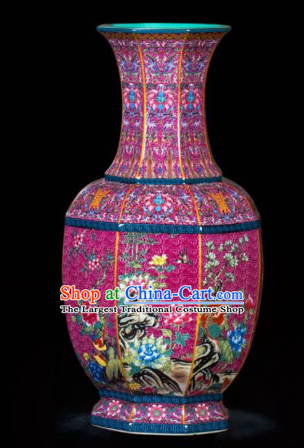 Chinese Jingdezhen Ceramic Purple Powder Enamel Vase Handicraft Traditional Porcelain Vase