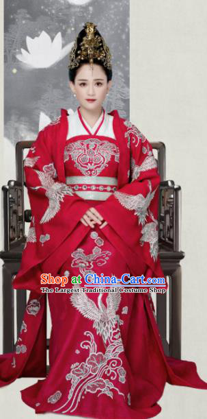 Drama Queen Dugu Chinese Traditional Ancient Sui Dynasty Empress Embroidered Historical Costume and Headpiece for Women