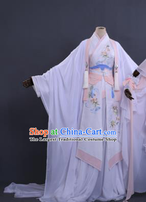Traditional Chinese Cosplay Princess Costume Ancient Swordswoman White Hanfu Dress for Women