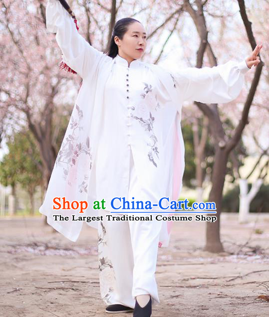 Chinese Traditional Martial Arts Costume Kung Fu Tai Chi Printing Peony White Clothing for Women
