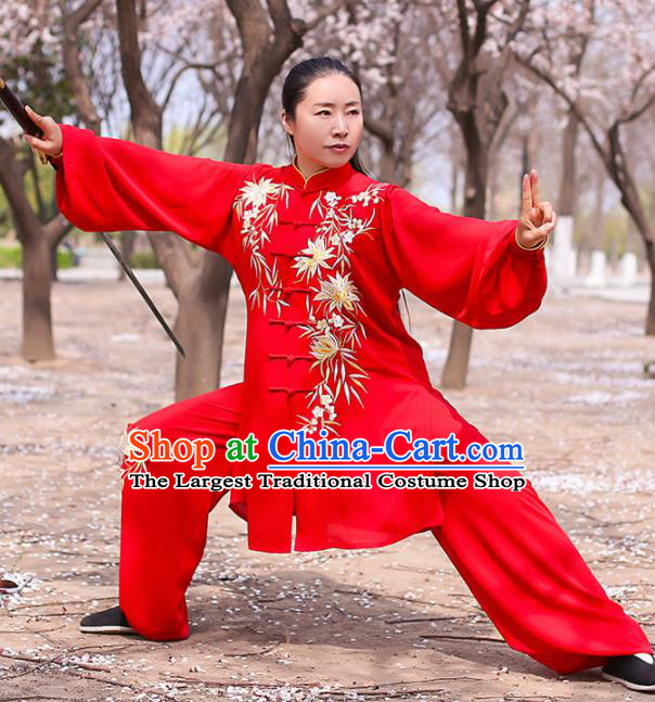 Chinese Traditional Martial Arts Competition Costume Kung Fu Tai Chi Embroidered Bamboo Red Clothing for Women