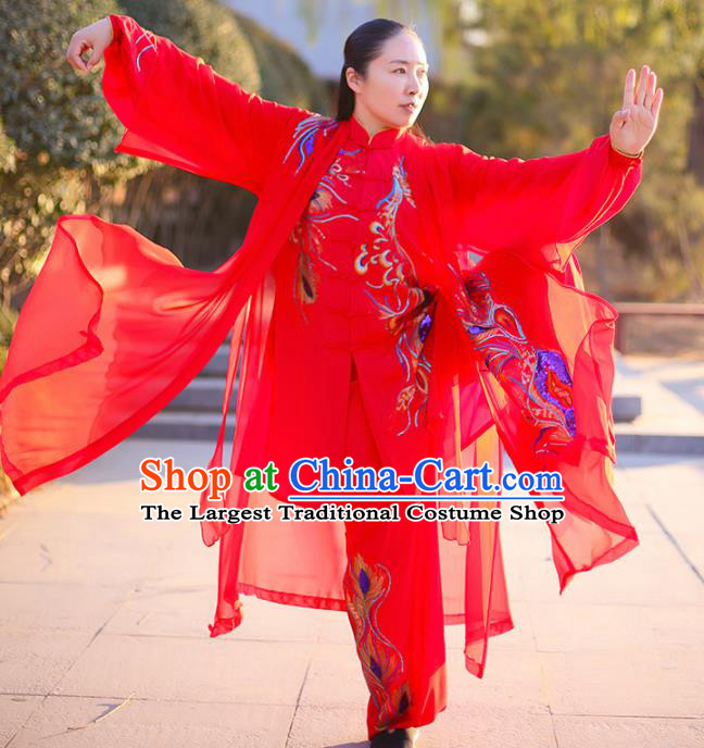 Chinese Traditional Martial Arts Competition Costume Kung Fu Embroidered Phoenix Red Clothing for Women