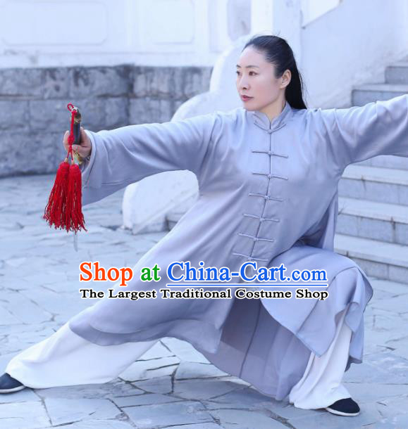 Chinese Traditional Martial Arts Competition Grey Costume Kung Fu Tai Chi Clothing for Women