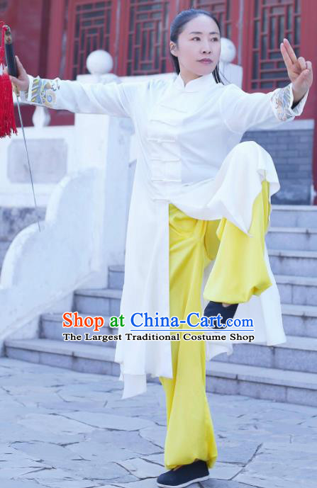 Chinese Traditional Martial Arts Kung Fu Competition White Costume Tai Chi Clothing for Women