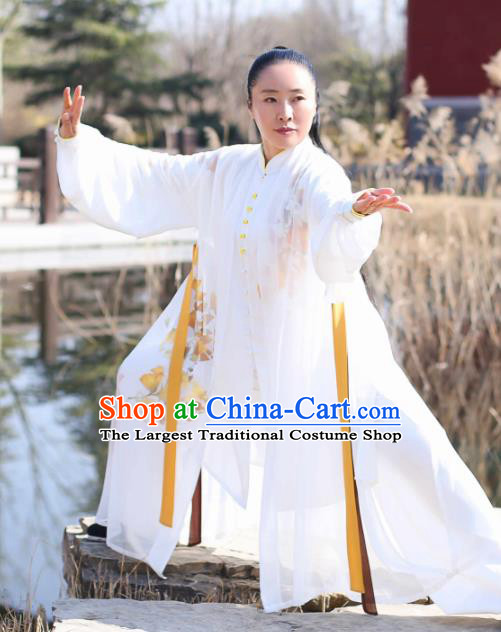 Chinese Traditional Kung Fu Competition Costume Martial Arts Tai Chi Printing Leaf Clothing for Women