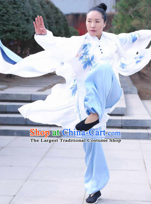 Chinese Traditional Kung Fu Competition Costume Martial Arts Tai Chi Printing Blue Flowers Clothing for Women