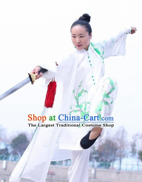 Chinese Traditional Kung Fu Competition Costume Martial Arts Tai Chi Printing Green Leaf Clothing for Women