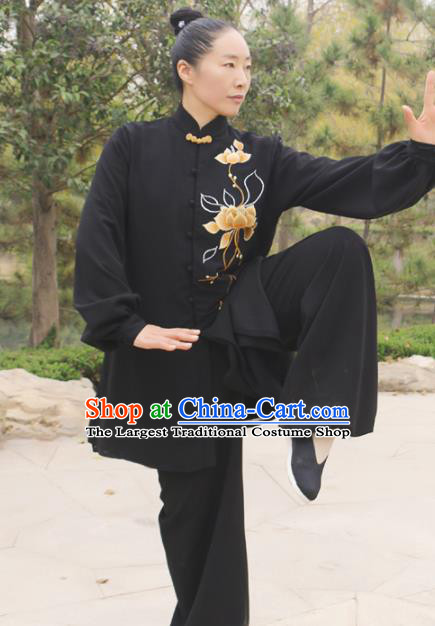 Chinese Traditional Kung Fu Competition Costume Martial Arts Tai Chi Embroidered Lotus Black Clothing for Women
