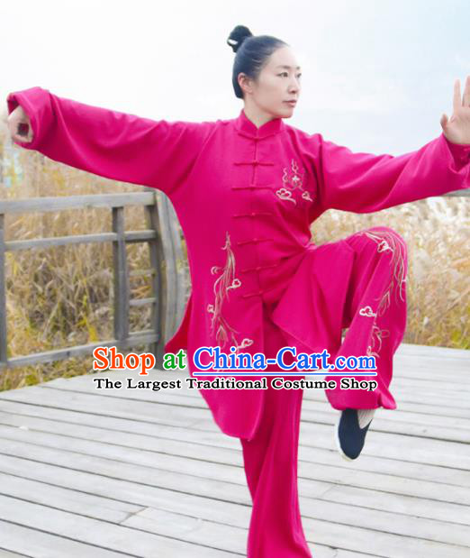 Chinese Traditional Kung Fu Competition Costume Martial Arts Tai Chi Printing Rosy Clothing for Women