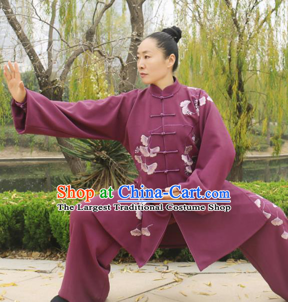 Chinese Traditional Kung Fu Competition Costume Martial Arts Tai Chi Embroidered Ginkgo Leaf Clothing for Women