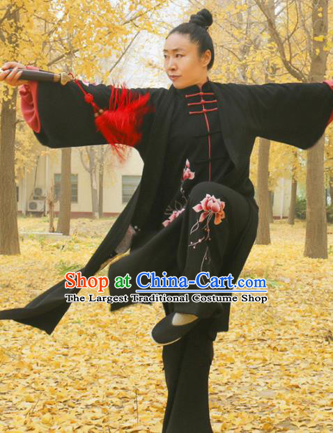Chinese Traditional Kung Fu Competition Black Costume Martial Arts Tai Chi Embroidered Lotus Clothing for Women