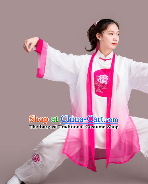 Chinese Traditional Kung Fu Competition Embroidered Peony Rosy Costume Martial Arts Tai Chi Clothing for Women