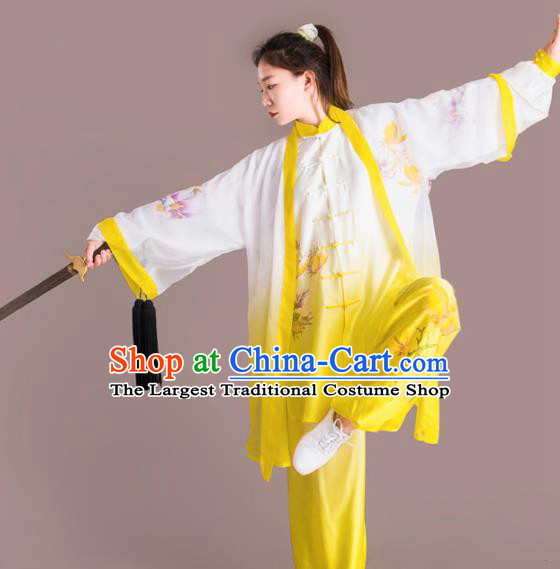 Chinese Traditional Kung Fu Competition Embroidered Peony Yellow Costume Martial Arts Tai Chi Clothing for Women