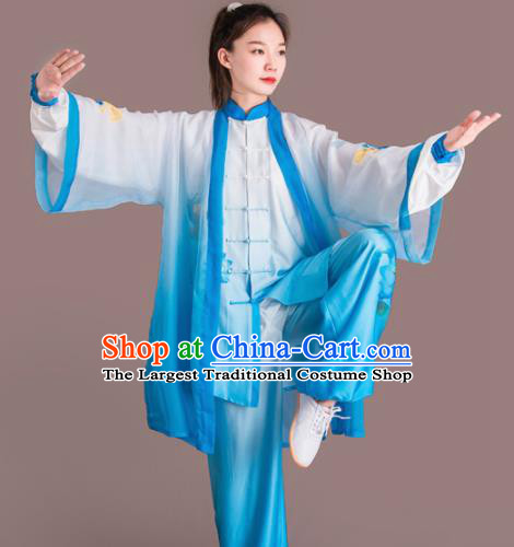 Chinese Traditional Kung Fu Competition Embroidered Lotus Blue Costume Martial Arts Tai Chi Clothing for Women