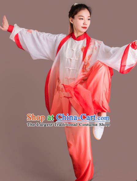Chinese Traditional Kung Fu Competition Embroidered Flowers Red Costume Martial Arts Tai Chi Clothing for Women