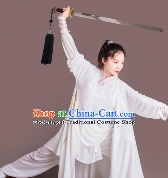 Chinese Traditional Kung Fu Costume Martial Arts Competition Tai Chi Embroidered Lotus Clothing for Women