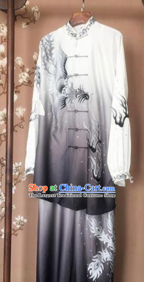 Chinese Traditional Kung Fu Costume Martial Arts Competition Tai Chi Printing Phoenix Grey Clothing for Women