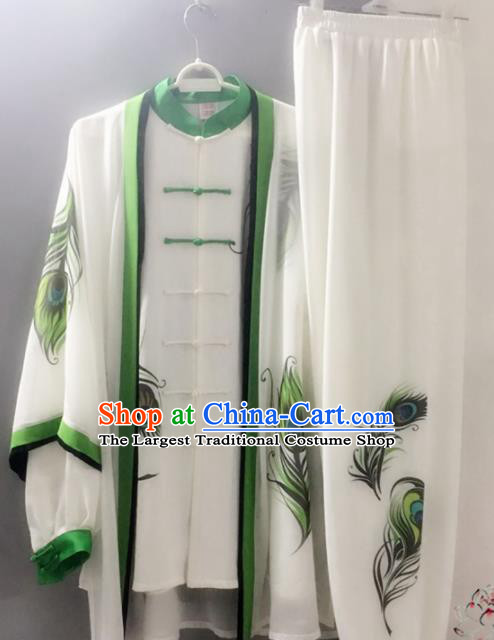 Chinese Traditional Kung Fu Costume Martial Arts Competition Tai Chi Printing Feather Clothing for Women