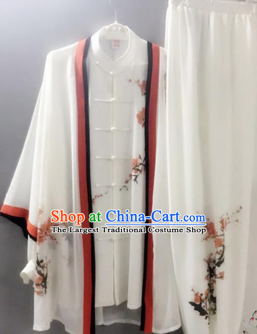 Chinese Traditional Kung Fu Competition Costume Tai Chi Martial Arts Printing Plum Blossoms Clothing for Men
