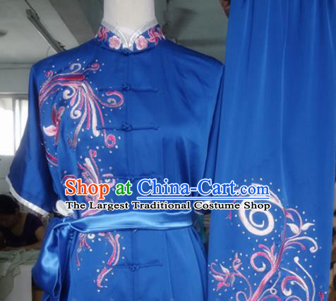 Chinese Traditional Kung Fu Costume Martial Arts Tai Chi Embroidered Blue Clothing for Women