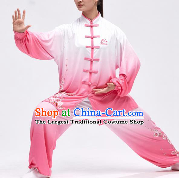 Chinese Traditional Kung Fu Competition Printing Pink Costume Martial Arts Tai Chi Clothing for Women