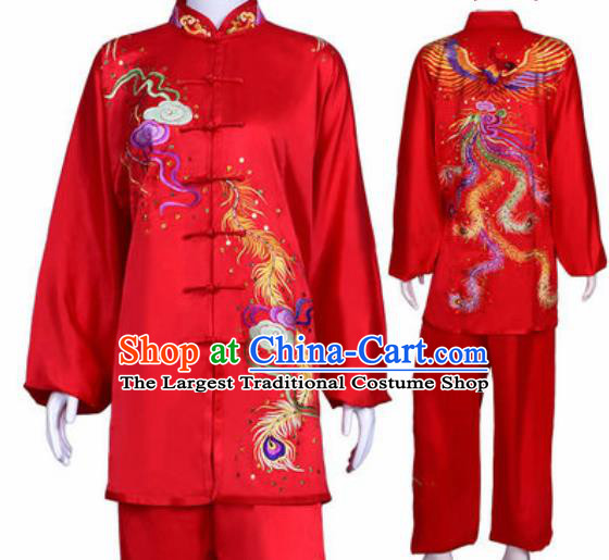 Chinese Traditional Kung Fu Competition Costume Martial Arts Tai Chi Embroidered Phoenix Red Clothing for Women