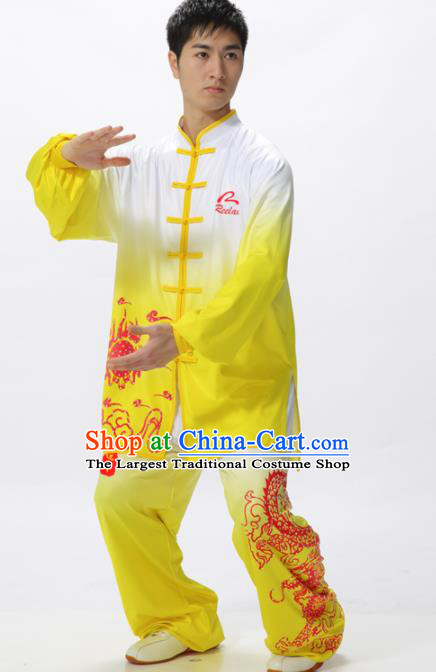 Chinese Traditional Kung Fu Competition Printing Peony Yellow Costume Tai Chi Martial Arts Clothing for Men