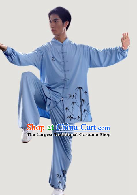 Chinese Traditional Kung Fu Competition Printing Bamboo Blue Costume Tai Chi Martial Arts Clothing for Men