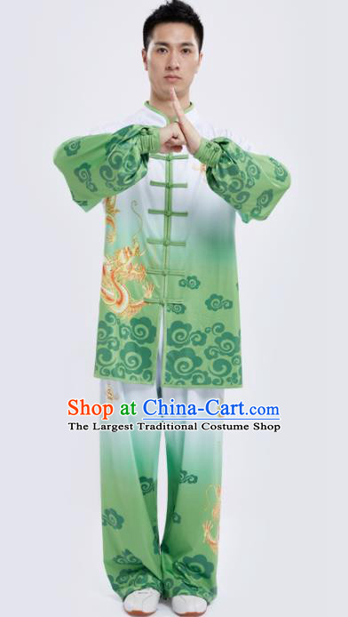 Chinese Traditional Kung Fu Competition Printing Dragon Green Costume Tai Chi Martial Arts Clothing for Men