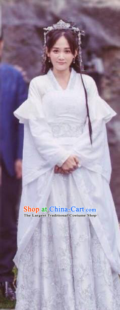 Chinese Drama Queen Dugu Ancient Hanfu Dress Northern Zhou Dynasty Nobility Lady Historical Costume and Headpiece for Women