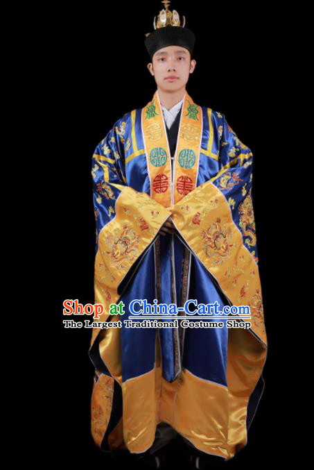 Chinese Traditional Taoism Costume National Taoist Priest Embroidered Dragons Royal Blue Cassock for Men