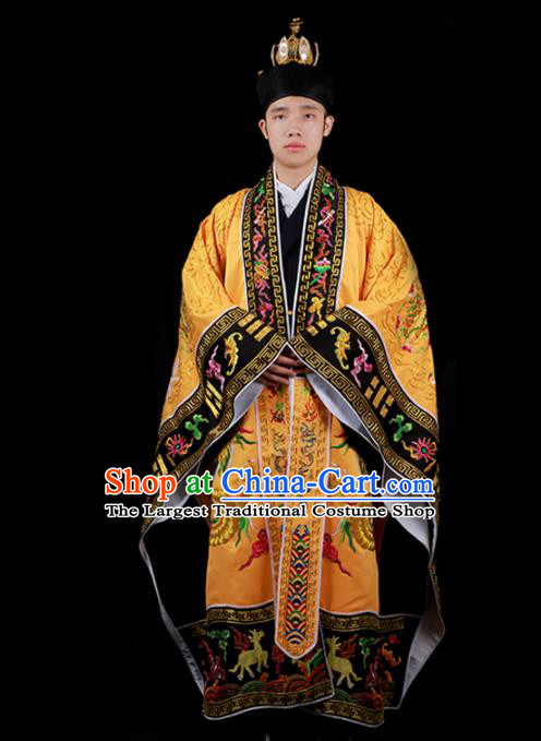 Chinese National Taoist Priest Embroidered Dragons Golden Cassock Traditional Taoism Costume for Men