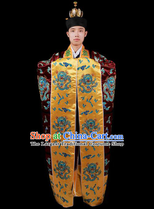Chinese National Taoist Priest Embroidered Dragon Wine Red Cassock Traditional Taoism Costume for Men