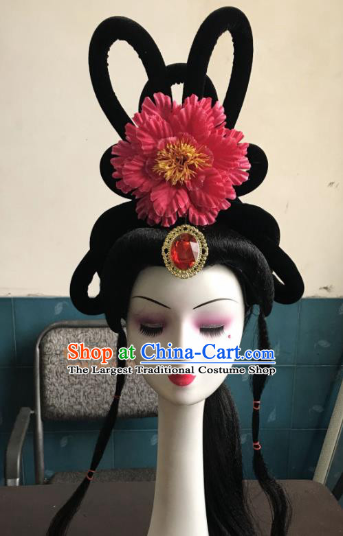 Chinese Traditional Beijing Opera Peri Rosy Peony Hairpins and Wigs Sheath Peking Opera Princess Hair Accessories for Women