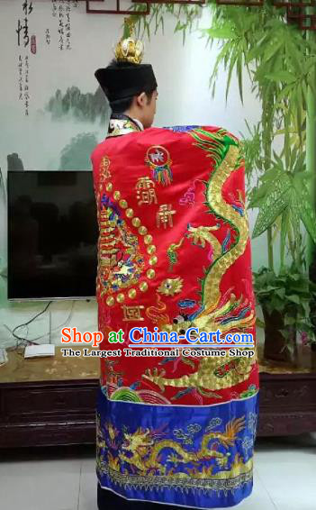 Chinese National Taoism Embroidered Dragons Red Priest Frock Cassock Traditional Taoist Priest Rites Costume for Men