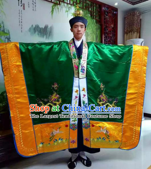 Chinese National Taoism Embroidered Dragons Green Priest Frock Cassock Traditional Taoist Priest Rites Costume for Men